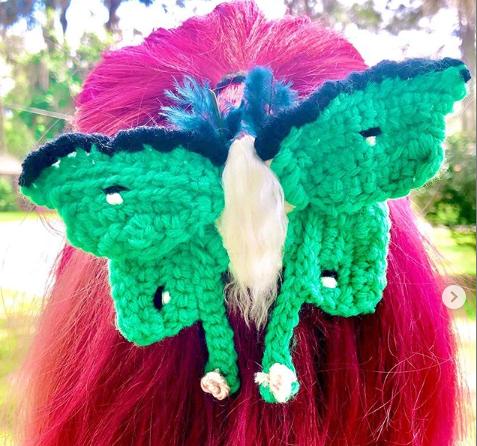 Crocheted Luna Moth Hair Clip