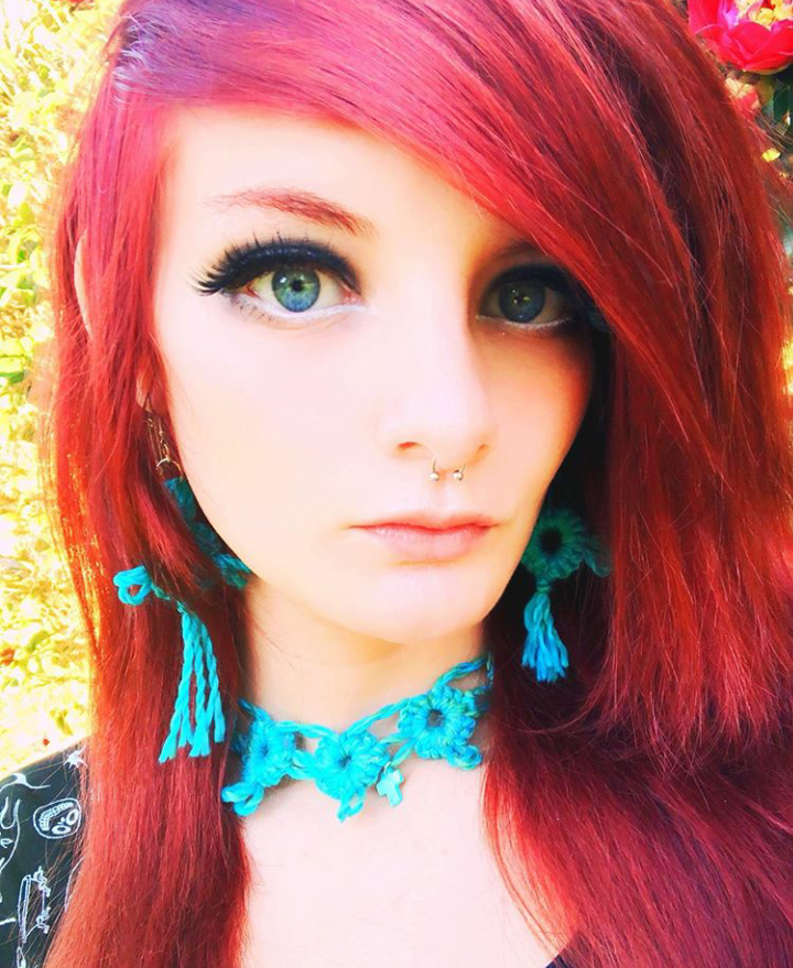 Crocheted Earrings and Choker Necklace